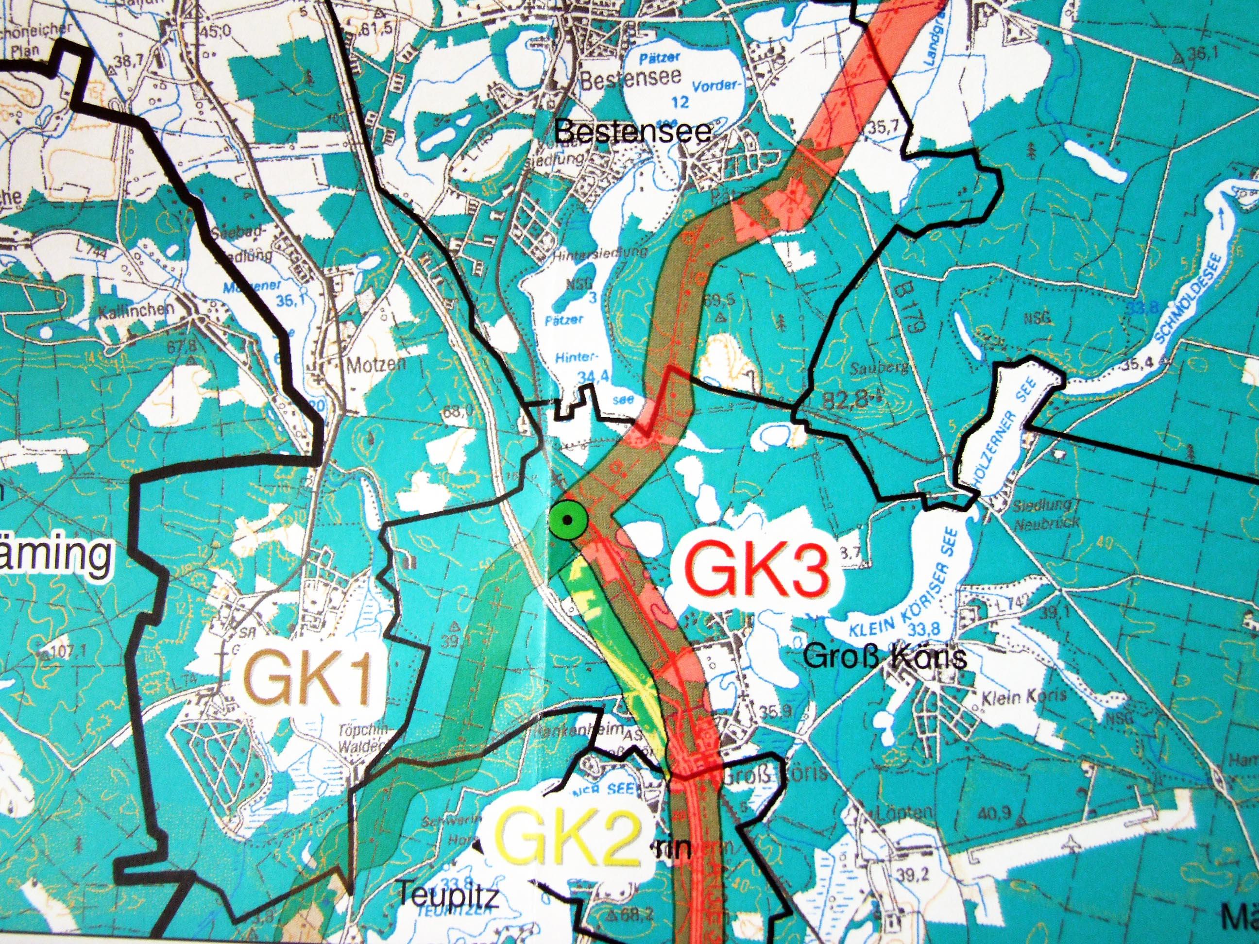 Gross Koeris Trassenvarianten OPAL, Detail