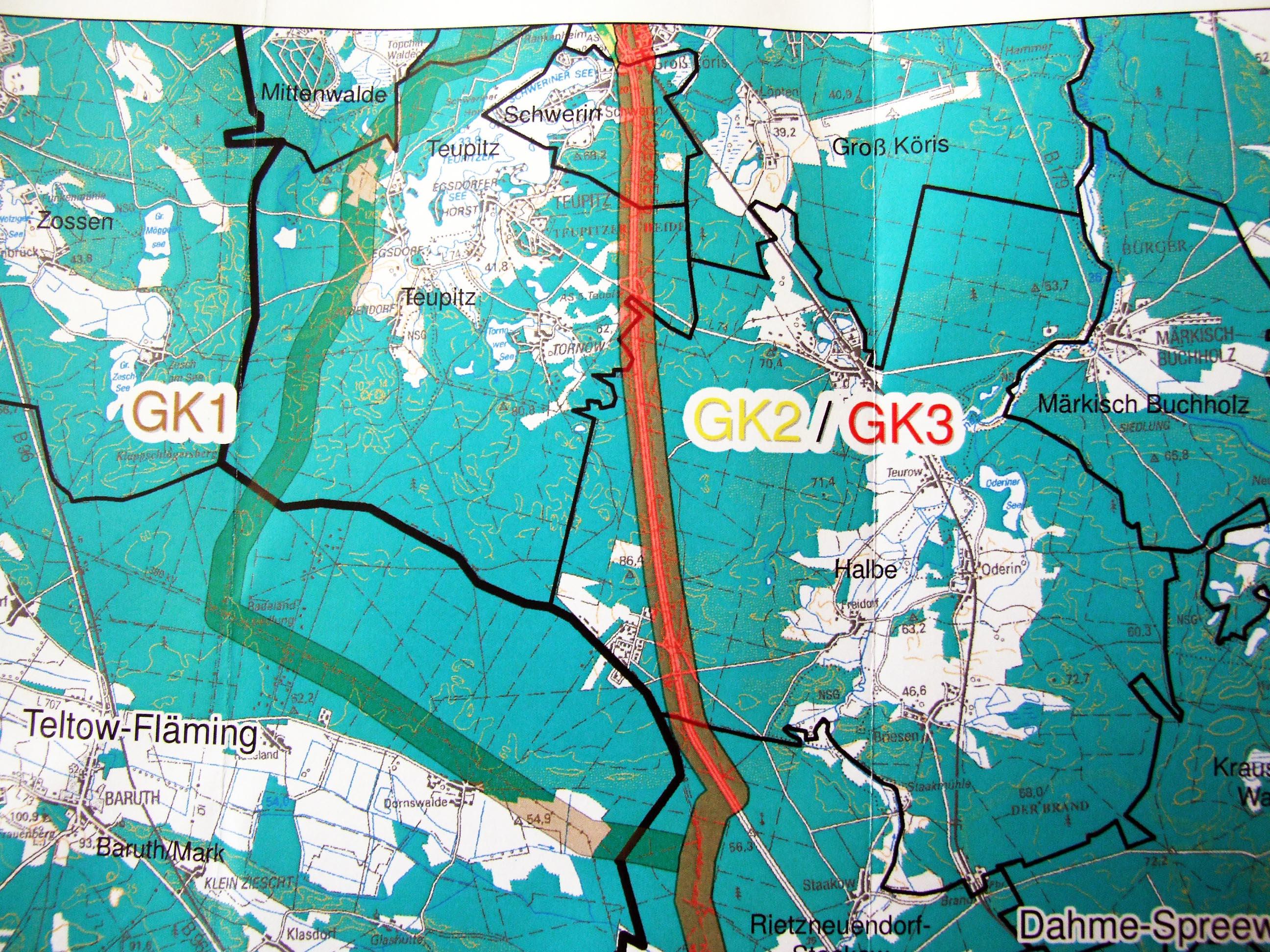 Gross Koeris Trassenvarianten OPAL, Detail GK-Teupitz, Süden