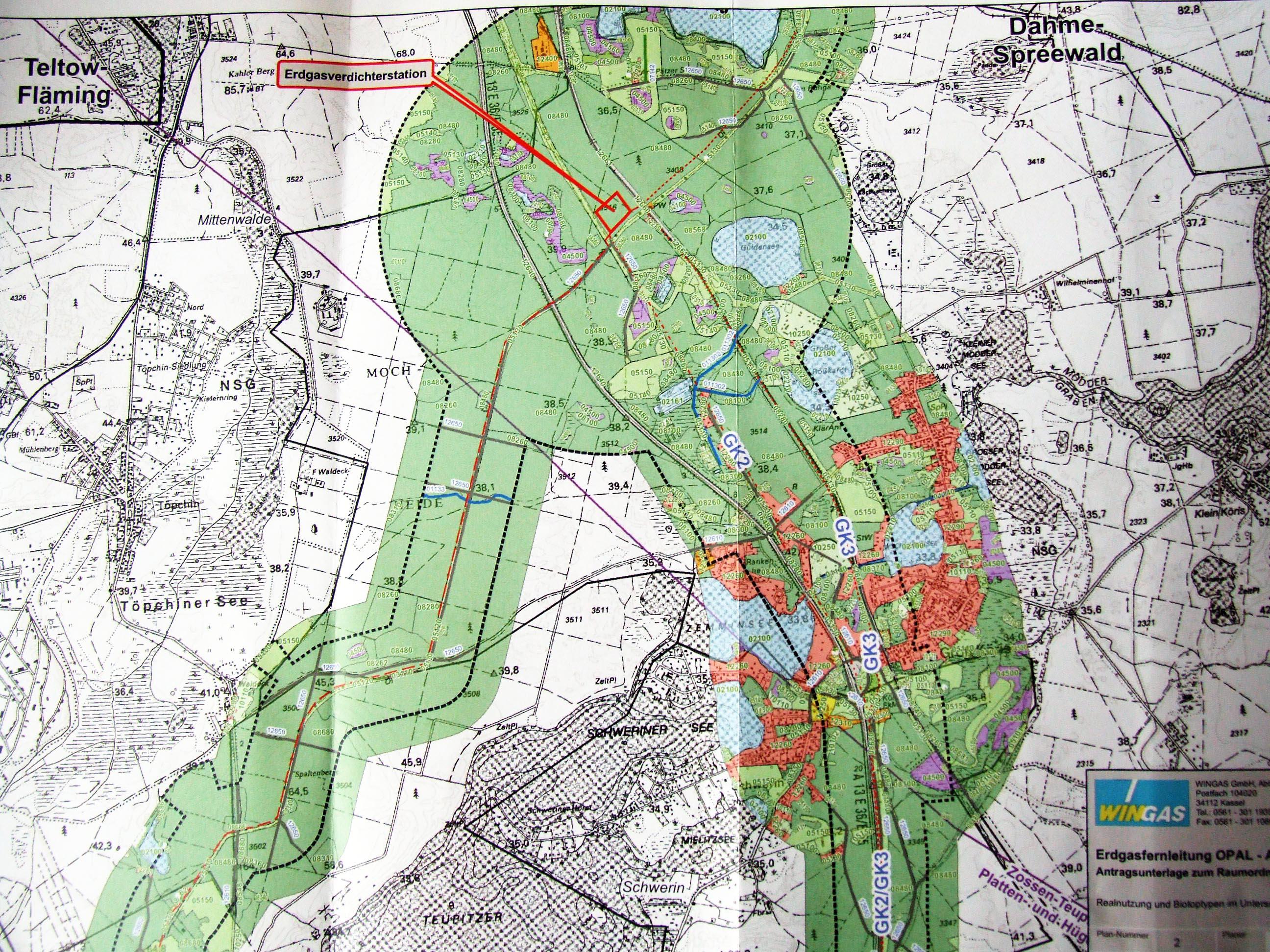 Derzeit von WINGAS geplanter Standort der Gasverdichteranlage Groß Köris (Zum Vergrößern ins Bild klicken)