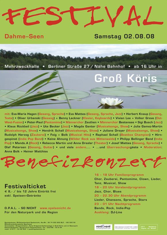 Festival Dahme-Seen Benefizkonzert Groß Köris Plakat 2